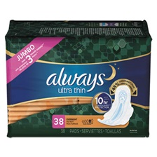 Always® Ultra Thin Overnight Pads with Wings, 38/Pack, 6 Pack/Carton