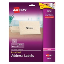 Avery® Clear Easy Peel Address Labels, Laser, 1 x 2 5/8, 750/Box