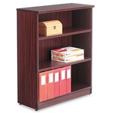 Alera® Alera Valencia Series Bookcase, Three-Shelf, 31 3/4w x 14d x 39 3/8h, Mahogany