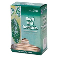 "Royal Mint Cello-Wrapped Wood Toothpicks, 2 1/2"", Natural, 1000/Box, 15 Boxes/Carton"