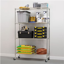 Alera® Complete Wire Shelving Unit w/Caster, Four-Shelf, 48 x 18 x 72, Silver