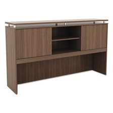 Alera® Alera Sedina Series Hutch with Sliding Doors, 66w x 15d x 42 1/2h, Modern Walnut