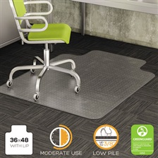 deflecto® DuraMat Moderate Use Chair Mat for Low Pile Carpet, 36 x 48 w/Lip, Clear