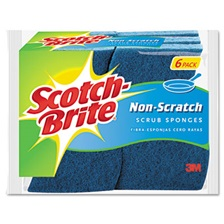 Scotch-Brite® Non-Scratch Multi-Purpose Scrub Sponge, 4 2/5 x 2 3/5, Blue, 6/Pack