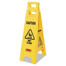 Rubbermaid® Commercial Caution Wet Floor Floor Sign, 4-Sided, Plastic, 12 x 16 x 38, Yellow
