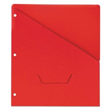 Universal® Slash-Cut Pockets for Three-Ring Binders, Jacket, Letter, 11 Pt., Red, 10/Pack
