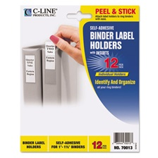 C-Line® Self-Adhesive Ring Binder Label Holders, Top Load, 3/4 x 2-1/2, Clear, 12/Pack