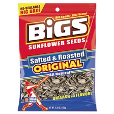 BIGS® Sunflower Seeds, Salted, 5.35 oz Bag, 12/Carton