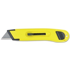 Stanley® Plastic Light-Duty Utility Knife w/Retractable Blade, Yellow