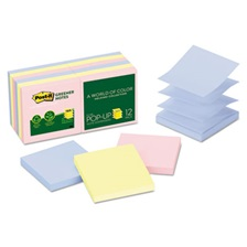 Post-it® Greener Notes Recycled Pop-up Notes, 3 x 3, Assorted Helsinki Colors, 100-Sheet, 12/Pack