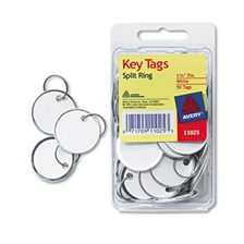 Avery® Key Tags with Split Ring, 1 1/4 dia, White, 50/Pack