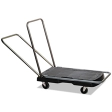 "Rubbermaid® Commercial Utility-Duty Home/Office Cart, 250 lb Capacity, 20 1/2"" x 32 1/2"" Platform, BK"