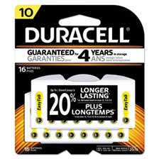 Duracell® Button Cell Hearing Aid Battery, #10, 16/Pk