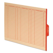 "Pendaflex® End Tab Outguides, Red Center ""OUT"" Tab, Manila, Letter, 100/Box"