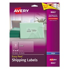Avery® Clear Easy Peel Shipping Labels, Inkjet, 2 x 4, 250/Pack