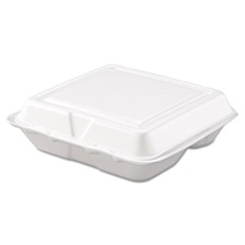Dart® Carryout Food Container, Foam, 3-Comp, White, 8 x 7 1/2 x 2 3/10, 200/Carton