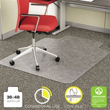 deflecto® EconoMat Occasional Use Chair Mat for Low Pile, 36 x 48 w/Lip, Clear
