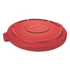 "Rubbermaid® Commercial Flat Top Lid for 20-Gallon Round Brute Containers, 19 7/8"" dia., Red, 6/Carton"