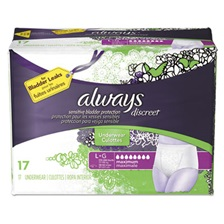 Always® Discreet Incontinence Underwear, Large, Maximum Absorbency, 17/Pack