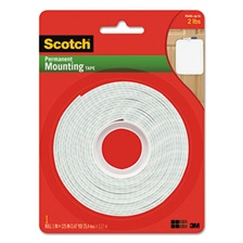 "Scotch® Permanent High-Density Foam Mounting Tape, 1"" Wide x 125"" Long"