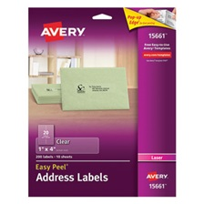 Avery® Clear Easy Peel Address Labels, Laser, 1 x 4, 200/Pack