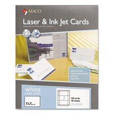 MACO® Unruled Microperforated Laser/Ink Jet Index Cards, 3 x 5, White, 150/Box