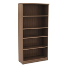 Alera® Alera Valencia Series Bookcase, Five-Shelf, 31 3/4w x 14d x 65h, Modern Walnut