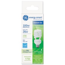 GE Energy Smart Compact Fluorescent Spiral Light Bulb, 26W, Soft White, 10 Bulbs/CT