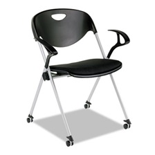 Alera Plus™ SL Series Nesting Stack Chair with Loop Arms and Casters, Black, 2/Carton
