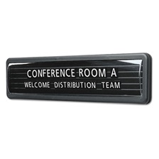 Quartet® Magnetic Nameplate, Desk/Wall/Door, Black/Dark Gray Base, 13.1 x 3