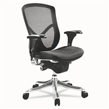 Alera® Alera EQ Series Ergonomic Multifunction Mid-Back Mesh Chair, Aluminum Base