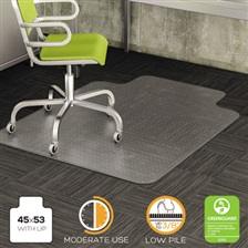 deflecto® DuraMat Moderate Use Chair Mat for Low Pile Carpet, Beveled, 45x53 w/Lip, Clear
