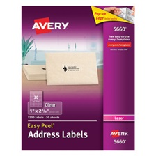 Avery® Clear Easy Peel Address Labels, Laser, 1 x 2 5/8, 1500/Box