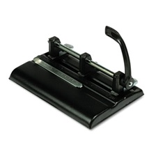 "Master® 40-Sheet Lever Action Two- to Seven-Hole Punch, 9/32"" Holes, Black"
