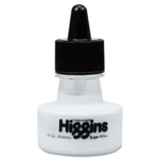 Higgins® Waterproof Pigmented Drawing Ink, White, 1oz Bottle