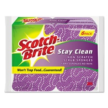 Scotch-Brite® Stay Clean Non-Scratch Scrub Sponges, 3 3/16 x 7/8 x 4 3/4, Purple, 6/Pack