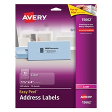 Avery® Clear Easy Peel Address Labels, Laser, 1 1/3 x 4, 140/Pack
