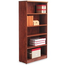 Alera® Alera Valencia Series Bookcase, Five-Shelf, 31 3/4w x 14d x 65h, Medium Cherry