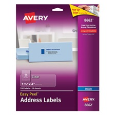 Avery® Clear Easy Peel Address Labels, Inkjet, 1 1/3 x 4, 350/Pack