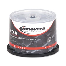 Innovera® CD-R Discs, 700MB/80min, 52x, Spindle, Silver, 50/Pack