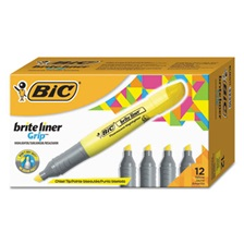 BIC® Brite Liner Grip Highlighter, Chisel Tip, Fluorescent Yellow, Dozen