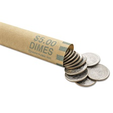 MMF Industries™ Nested Preformed Coin Wrappers, Dimes, $5.00, Green, 1000 Wrappers/Box