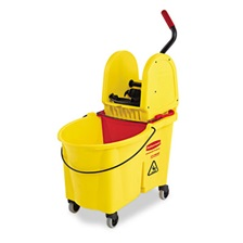 Rubbermaid® Commercial WaveBrake 44 Quart Bucket/Downward Pressure Wringer Combination, Yellow