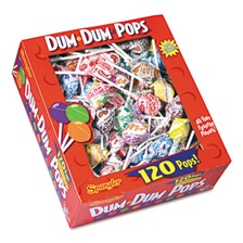 Spangler® Dum-Dum-Pops, Assorted Flavors, Individually Wrapped, 120 Count Box