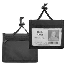 Advantus ID Badge Holder w/Convention Neck Pouch, Horizontal, 4 x 2 1/4, Black, 12/Pack