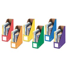 Bankers Box® Cardboard Magazine File, 4 1/4 x 11 3/8 x 12 7/8, Assorted, 6/PK