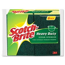 "Scotch-Brite® Heavy-Duty Scrub Sponge, 4 1/2"" x 2 7/10"" x 3/5"", Green/Yellow, 6/Pack"