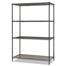 Alera® All-Purpose Wire Shelving Starter Kit, 4-Shelf, 48 x 24 x 72, Black Anthracite+