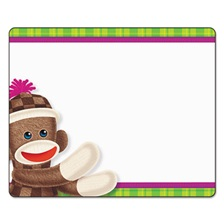 TREND® Terrific Labels, 2 1/2 x 3, Sock Monkeys, 36/Pack