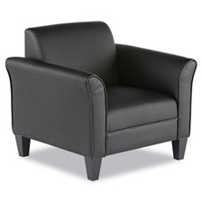 Alera® Alera Reception Lounge Series Club Chair, Black/Black Leather